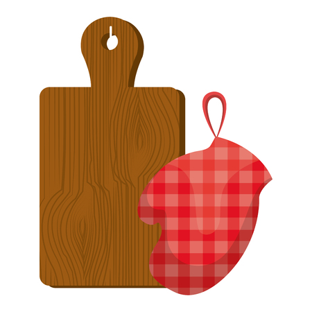 glove kitchen with board wooden vector illustration design