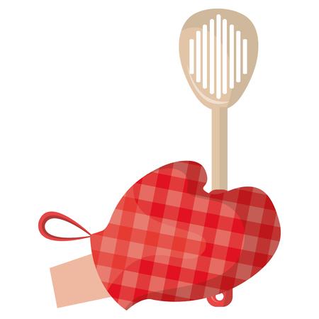 glove kitchen with spatule vector illustration design Illustration