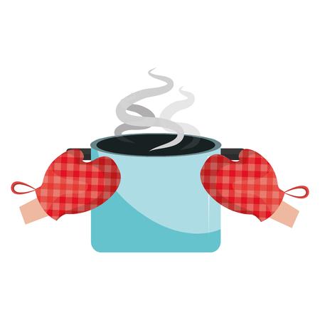 gloves kitchen with pot vector illustration design