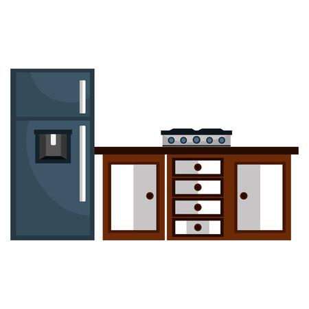 Cassetto della cucina in legno con piano cottura e frigorifero illustrazione vettoriale design