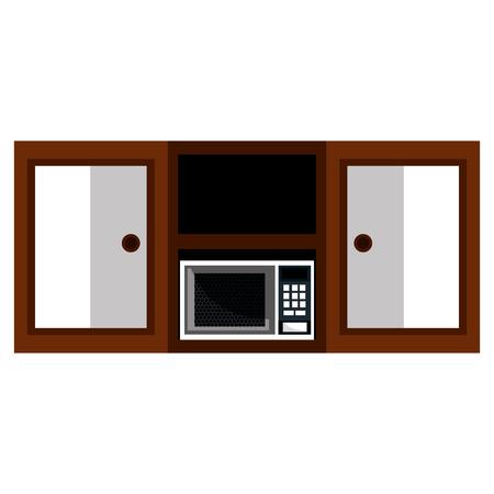 kitchen shelving wooden with microwave oven vector illustration design Foto de archivo - 112071064