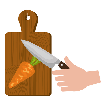 kitchen wooden board with knife cutting carrot vector illustration design  イラスト・ベクター素材