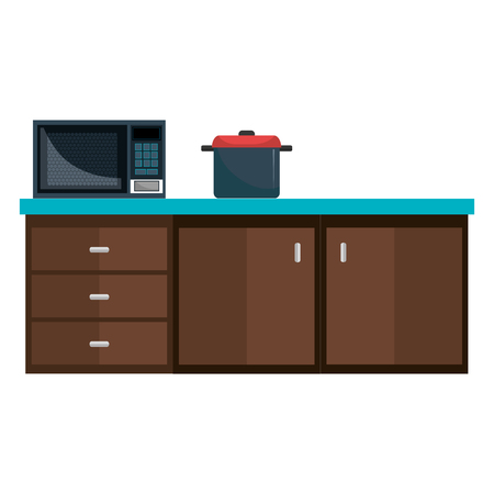 kitchen drawer with microwave oven and pot vector illustration design