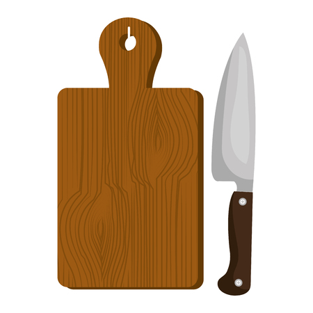 kitchen wooden board with knife vector illustration design