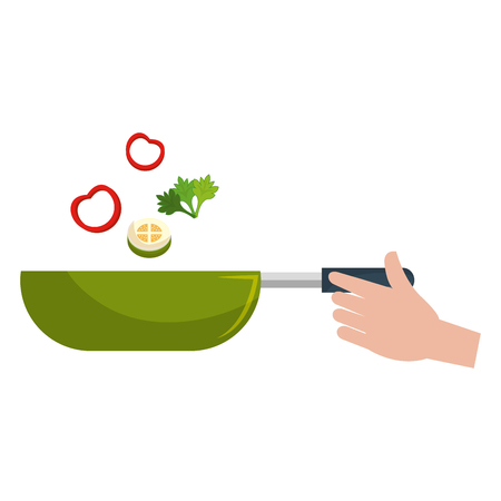 hand with pan cooking vegetables vector illustration design