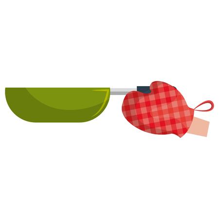 glove kitchen with pan vector illustration design Illustration