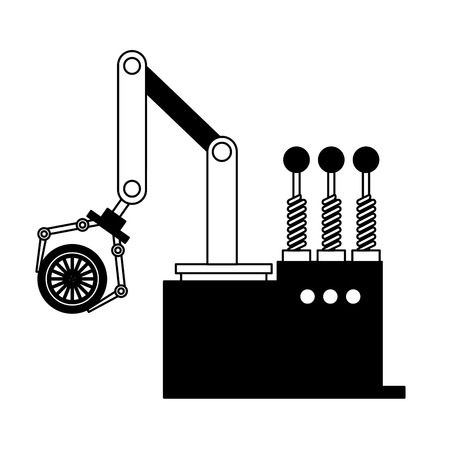 robotic hand machine with tire vector illustration design Banco de Imagens - 112071104
