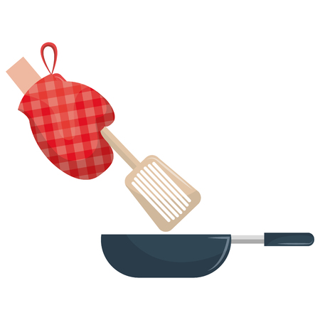 glove kitchen with pan and spatule vector illustration design