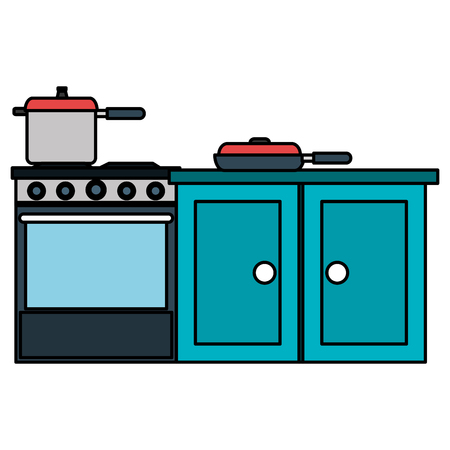 kitchen oven with pot and drawer vector illustration design Banque d'images - 112071122