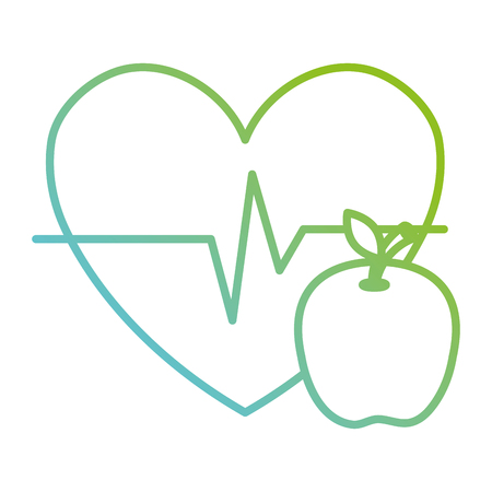 heart cardio with apple vector illustration design Banque d'images - 112071125