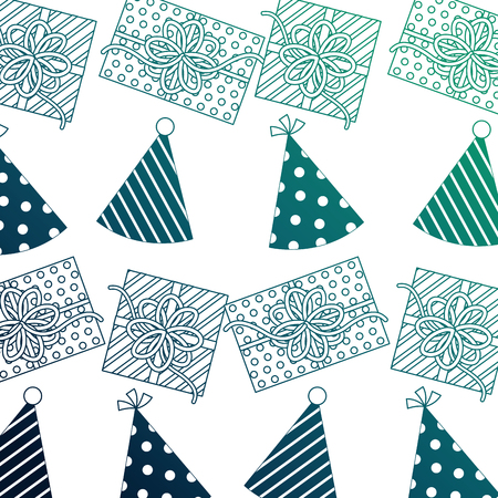gift box present with hat party pattern vector illustration design