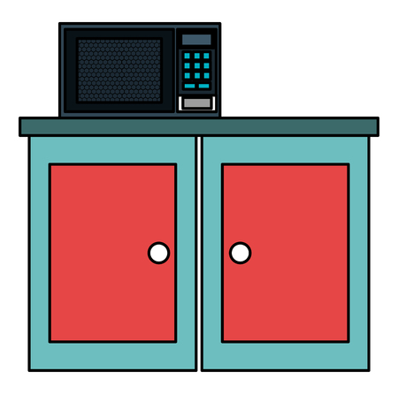 kitchen drawer wooden with microwave oven vector illustration design Imagens - 106298994