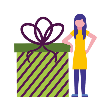 young woman with gift box present icon vector illustration design