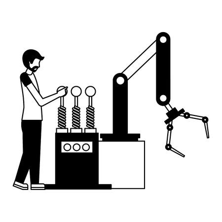 Operador con diseño de ilustración de vector de icono de máquina de mano robótica