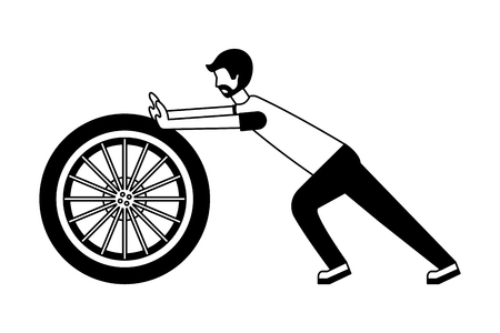 young man pushing tire car isolated icon vector illustration design