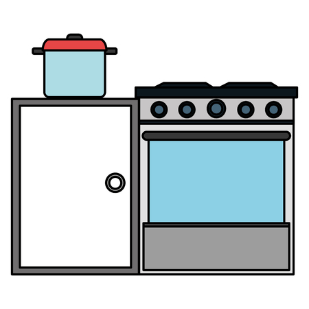 kitchen oven with pot and drawer vector illustration design Banque d'images - 112071155