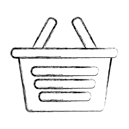 shopping basket ecommerce market online vector illustration hand drawing