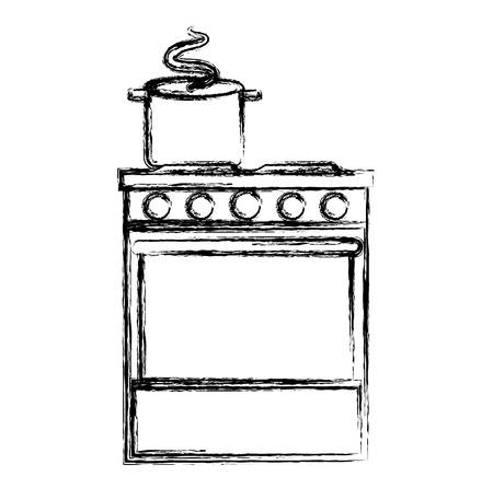 kitchen oven with pot vector illustration design