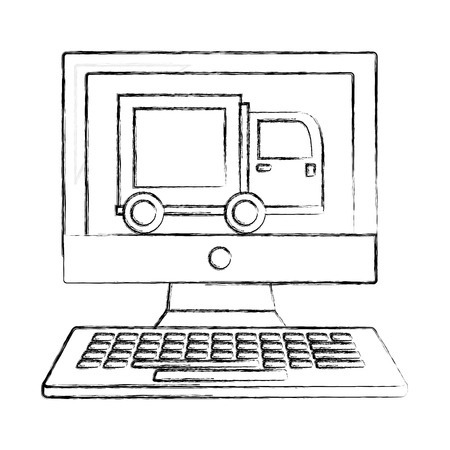 computer food delivery truck online vector illustration hand drawing