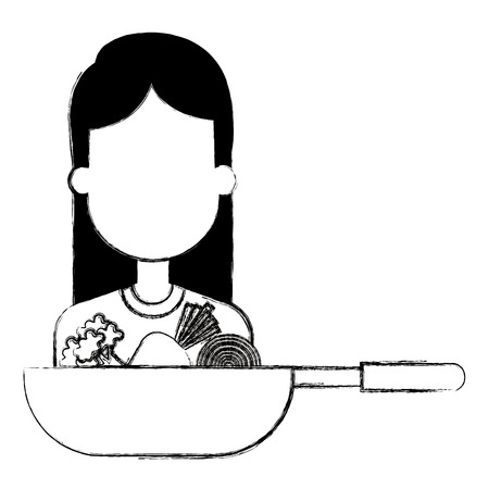 woman with pan cooking vegetables vector illustration design Illustration