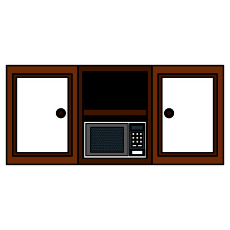 kitchen shelving wooden with microwave oven vector illustration design