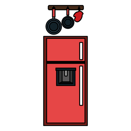 kitchen fridge with utensils hanging vector illustration design Ilustracja