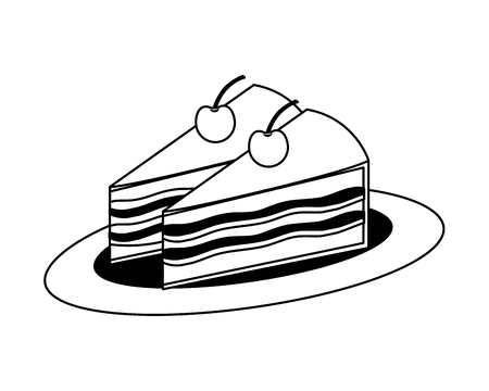 sweet cake slice with cherry fruit isolated icon vector illustration design