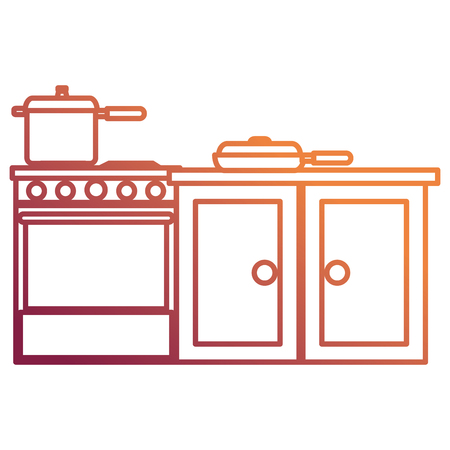 kitchen oven with pot and drawer vector illustration design Archivio Fotografico - 112071235