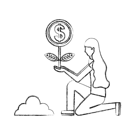 woman planting plant coin money vector illustration hand drawing