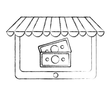 tablet computer online buy banknote money vector illustration hand drawing