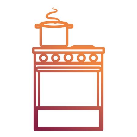 kitchen oven with pot vector illustration design Standard-Bild - 112071262