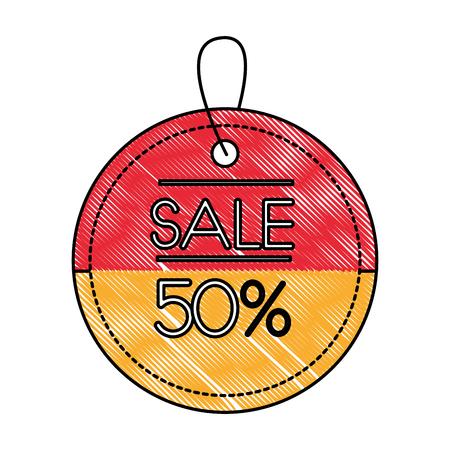 ecommerce market sale 50 percent label vector illustration