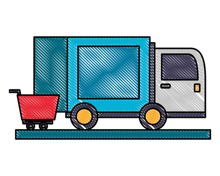delivery truck shopping cart online vector illustration
