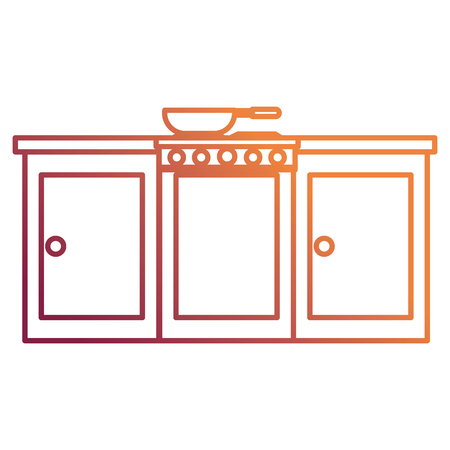 kitchen oven with drawers and pan vector illustration design