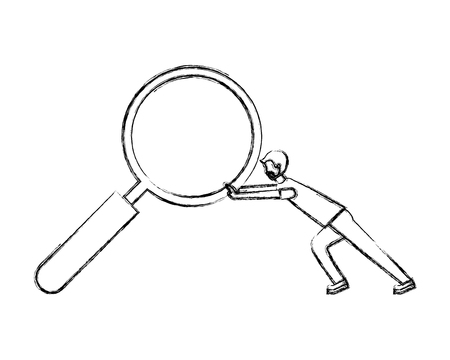 businessman pushing magnifying glass search vector illustration hand drawing