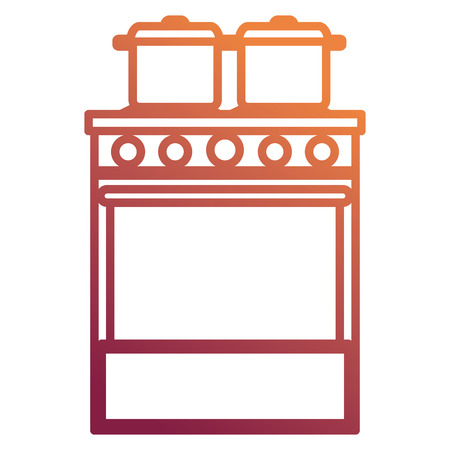kitchen oven with pot vector illustration design Standard-Bild - 112071285