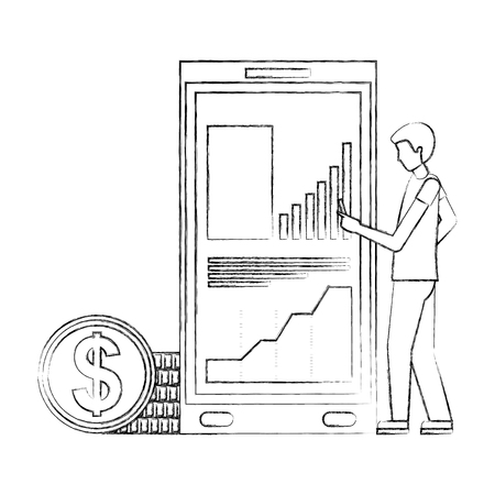 businessman with cellphone statistics diagram coins money vector illustration hand drawing
