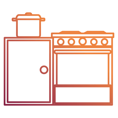 kitchen oven with pot and drawer vector illustration design Standard-Bild - 112071287