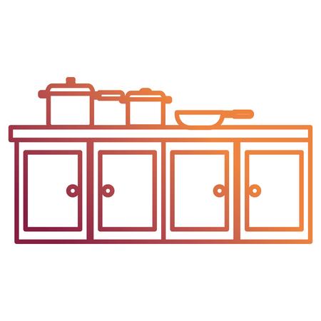 kitchen drawer wooden with set pots vector illustration design
