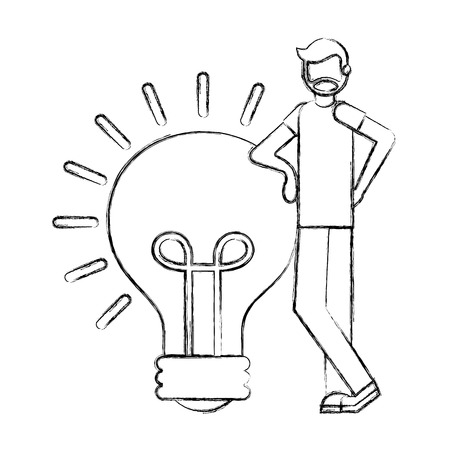 beard man with lgiht bulb solution creativity vector illustration hand drawing Stok Fotoğraf - 112071295