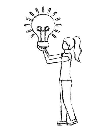 woman avatar holds light bulb creativity vector illustration hand drawing