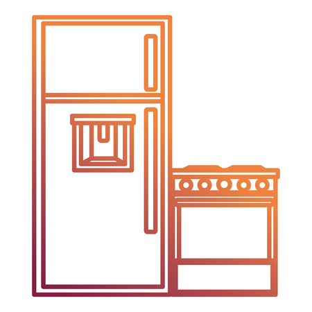 kitchen oven with fridge vector illustration design
