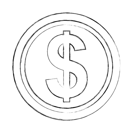 dollar coin money currency economy vector illustration hand drawing