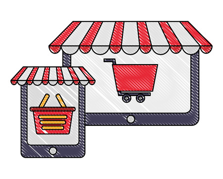tablet and smartphone shopping bag and cart buy online vector illustration 向量圖像