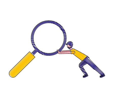 businessman pushing magnifying glass search vector illustration