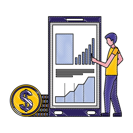 businessman with cellphone statistics diagram coins money vector illustration Stock Vector - 112073054