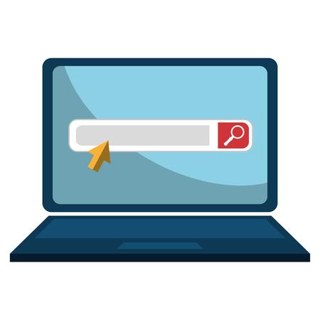 computer portatile con barra di ricerca illustrazione vettoriale design Vettoriali