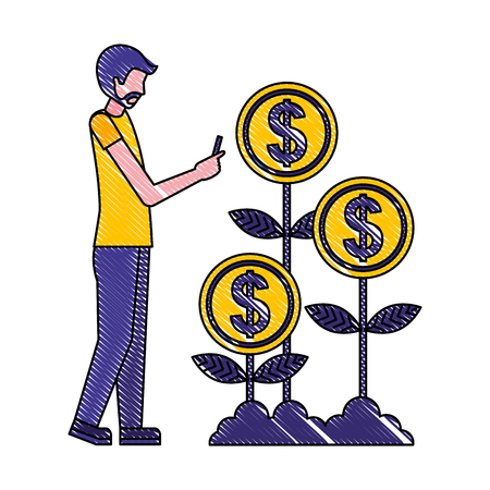 businessman with smartphone plant coins money investment vector illustration Illustration