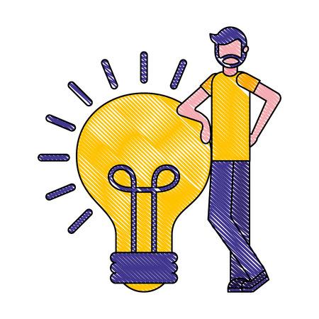 beard man with lgiht bulb solution creativity vector illustration Иллюстрация