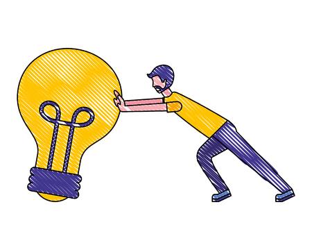 beard businessman pushing light bulb creativity vector illustration